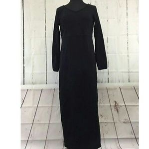 Eddie Bauer long sleeve black maxi dress modest